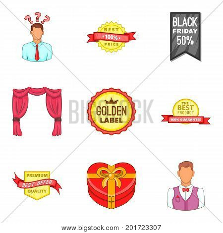 Great sale icons set. Cartoon set of 9 great sale vector icons for web isolated on white background