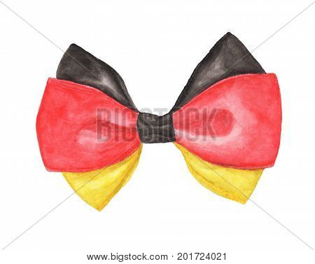 Black, red and yellow (Deutschland or German flag color) gift ribbon bow isolated on white background. Watercolor illustration
