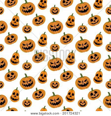 Jack-o-lantern pumpkin halloween pattern on the white background. Vector illustration