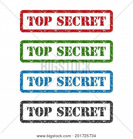 top secret set rubber stamp isolated on white background.