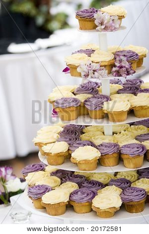 cupcakes on tier at wedding reception