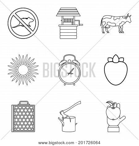 Rodent icons set. Outline set of 9 rodent vector icons for web isolated on white background