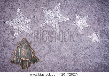 Christmas greeting card. Noel festive background. New year symbol. Star.