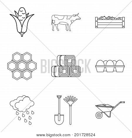 Honeycombs icons set. Outline set of 9 honeycombs vector icons for web isolated on white background