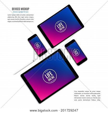 mockup devices: smartphones and tablets with multicolor screen isolated on white background. stock vector illustration eps10
