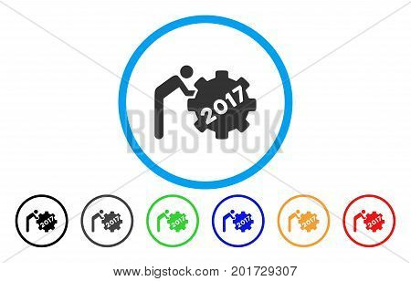 2017 Worker Rolling Gear vector rounded icon. Image style is a flat gray icon symbol inside a blue circle. Bonus color versions are gray, black, blue, green, red, orange.