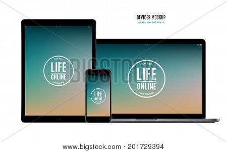 mockup devices: smartphone tablet and laptop with color screen isolated on white background. stock vector illustration eps10