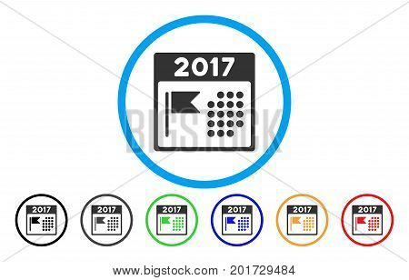 2017 Year National Day vector rounded icon. Image style is a flat gray icon symbol inside a blue circle. Bonus color versions are gray, black, blue, green, red, orange.