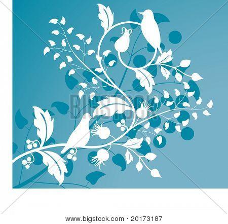foliage with birds stylized