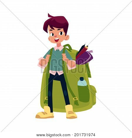 vector cartoon teenage man schoolboy wearing big huge schoolbag full of books smiles. Isolated flat illustration on a white background. Back to school concept
