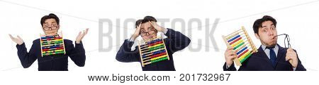 Angry accountant with abacus isolated on white