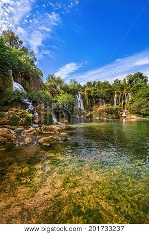Kravice waterfall in Bosnia and Herzegovina - nature travel background