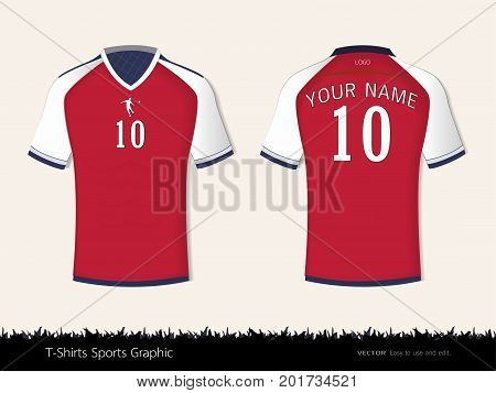 T-shirt sport design for football club, Front and back view soccer jersey uniform, Sport slim fit shirts apparel mock up, Graphic template vector Illustration eps 10. poster