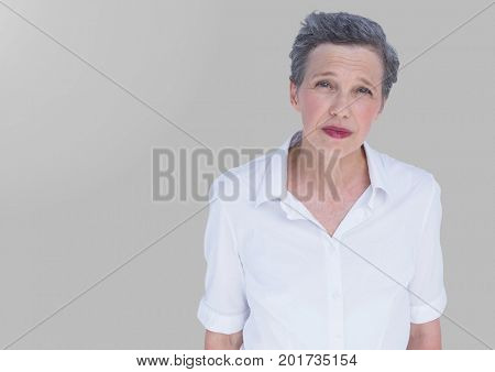 Digital composite of Portrait of woman with grey background
