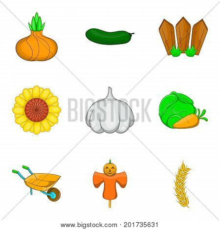 Scarecrow icons set. Cartoon set of 9 scarecrow vector icons for web isolated on white background