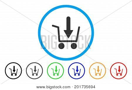 Add To Basket vector rounded icon. Image style is a flat gray icon symbol inside a blue circle. Bonus color variants are gray, black, blue, green, red, orange.
