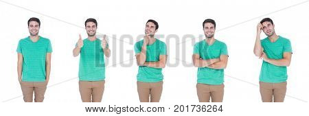 Digital composite of Man expressing feelings collage