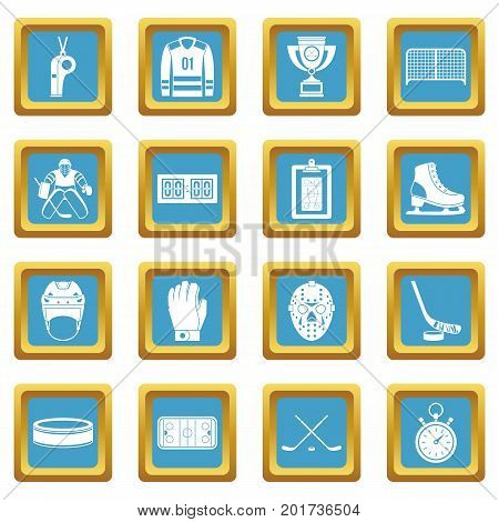 Hockey icons set in azur color isolated vector illustration for web and any design