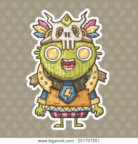 cartoon green shaman. vector illustration for web and print.