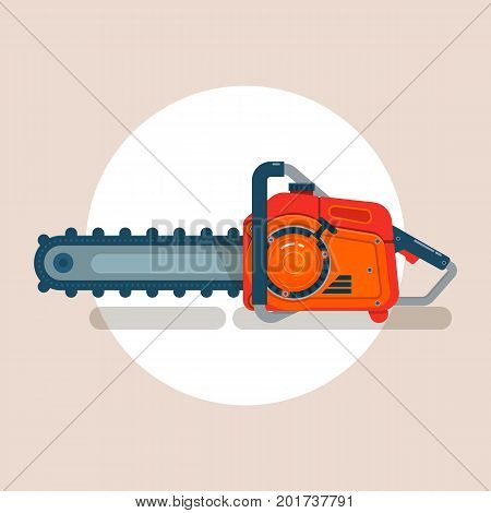 Chainsaw icon, chain saw vector pictogram, icon isolated on white, vector illustration