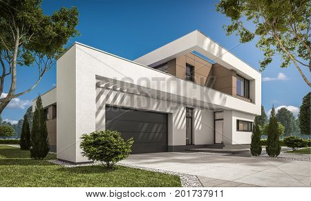 3D Rendering Of Modern House