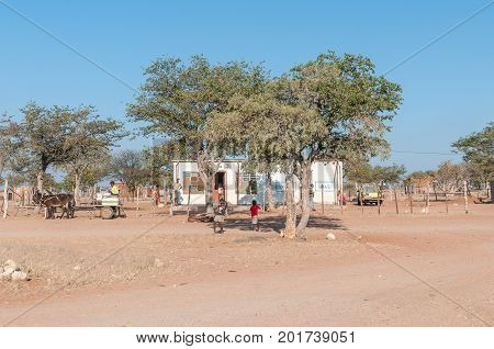 KAMANJAB NAMIBIA - JUNE 27 2017: A small shop on the C40-road between Kamanjab and Palmwag in the Kunene Region of Namibia