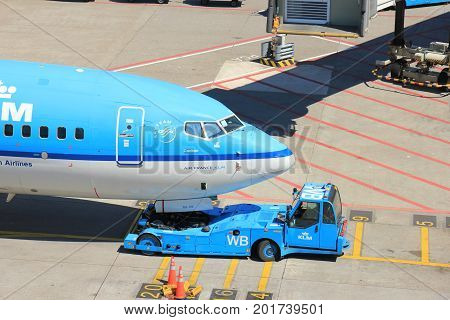 Amsterdam The Netherlands - May 26th 2017: KLM Boeing 737 parked at gate at Schiphol International Airport