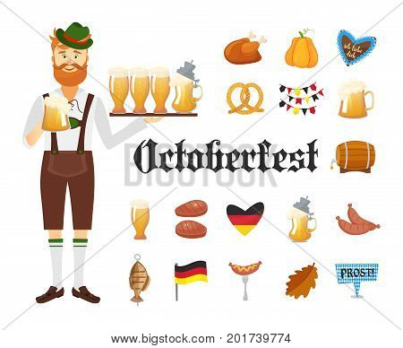 Smiling Bavarian man with red beard and moustache, dressed in traditional costume and hat with beer glasses and set of Oktoberfest icons. Traditional symbols of autumn holiday of beer isolated on white background. Cartoon flat style vector illustration