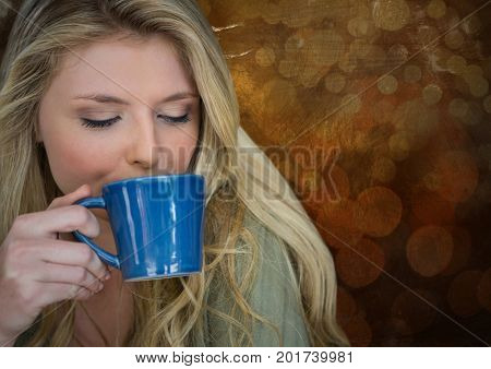 Digital composite of Portraiture of woman drinking coffee against brown bokeh