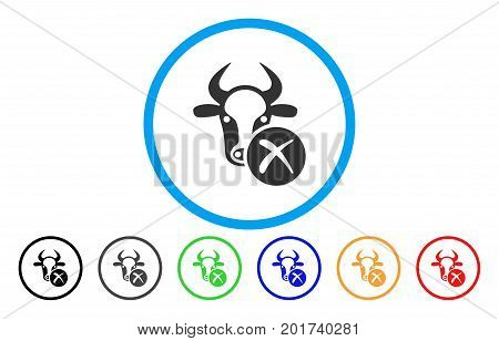 Cow Reject vector rounded icon. Image style is a flat gray icon symbol inside a blue circle. Additional color variants are grey, black, blue, green, red, orange.