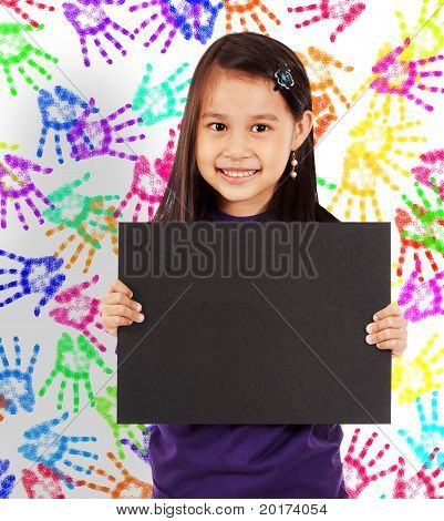 Young Cheerful Girl With A Blank Board