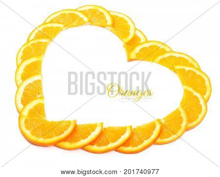 Slices of oranges in the form of heart.