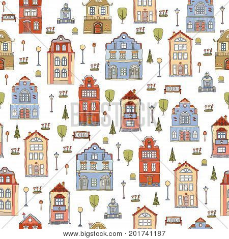 Seamless pattern with small town houses . Vector cute decorative background .