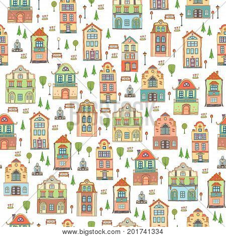 Seamless pattern with small town houses . Vector cute decorative background with bench tree lantern and fountain.