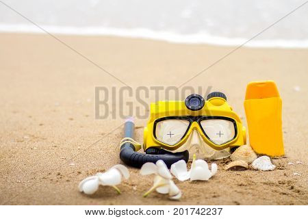 Summer on beach and accessories sunblock snorkel holiday