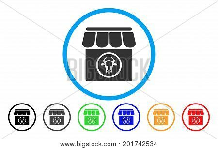 Livestock Farm vector rounded icon. Image style is a flat gray icon symbol inside a blue circle. Bonus color versions are gray, black, blue, green, red, orange.