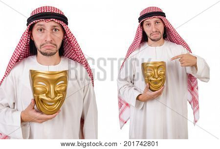 Arab in hypocrisy concept on white