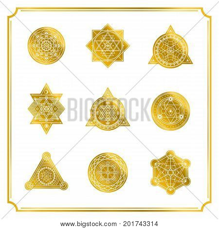 Sacred shapes with frame on white background . Vector .