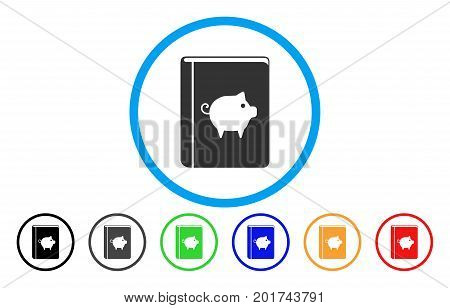 Pig Handbook vector rounded icon. Image style is a flat gray icon symbol inside a blue circle. Bonus color versions are gray, black, blue, green, red, orange.