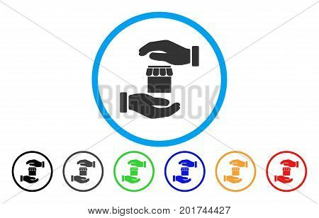 Real Estate Insurance Hands vector rounded icon. Image style is a flat gray icon symbol inside a blue circle. Bonus color variants are grey, black, blue, green, red, orange.