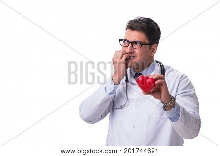 Young male cardiologist doctor holding a heart isolated on white