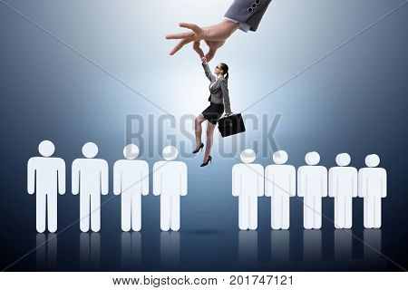 Recruitment concept with hand picking the best employee