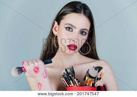Woman Has Stylish Long Hair With Brush.
