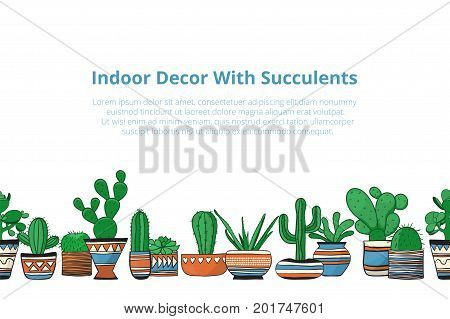 Cute colored cacti in row . Seamless vector background