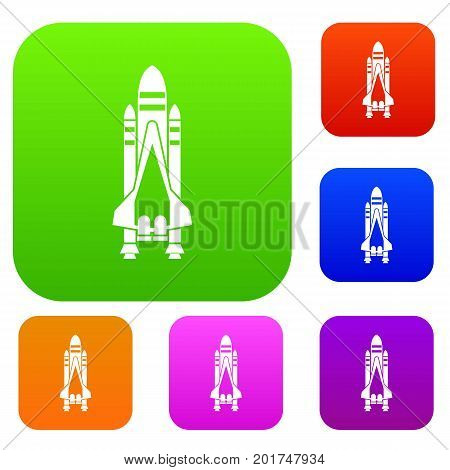 Space shuttle set icon in different colors isolated vector illustration. Premium collection