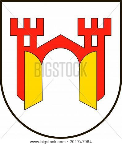 Coat of arms of Offenburg is a city in Baden-Wuerttemberg Germany. Vector illustration from the