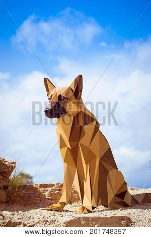 Guard dog German shepherd in polygons style sitting on hind legs. Dog is symbol of New 2018 year according to Chinese calendar Year Of Yellow Earth Dog. Pet and guard dog loyal friend of man