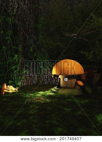 Fantasy illustration of a gnome sitting outside his toadstool house in a forest at night, digital illustration (3d render)