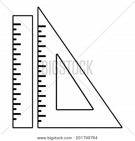 Ruler icon. Outline illustration of ruler vector icon for web
