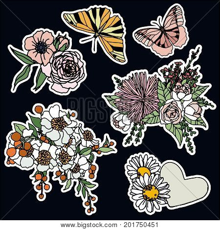 Set of roses and butterfly patches elements. Set of stickers, pins, patches and handwritten notes collection in cartoon 80s-90s comic style.Vector stikers kit.